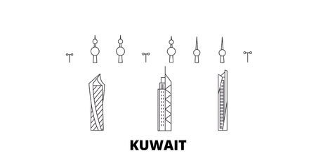 Kuwait, Kuwait line travel skyline set. Kuwait, Kuwait outline city vector panorama, illustration, travel sights, landmarks, streets.
