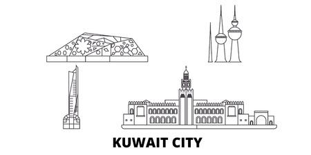 Koweït, ligne d'horizon de voyage de Koweït City. Koweït, Koweït City contour vectoriel panorama de la ville, illustration, sites touristiques, monuments, rues. Vecteurs