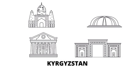 Kyrgyzstan line travel skyline set. Kyrgyzstan outline city vector panorama, illustration, travel sights, landmarks, streets.