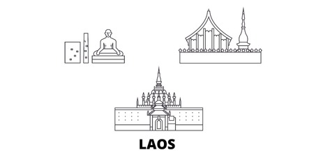 Laos line travel skyline set. Laos outline city vector panorama, illustration, travel sights, landmarks, streets.