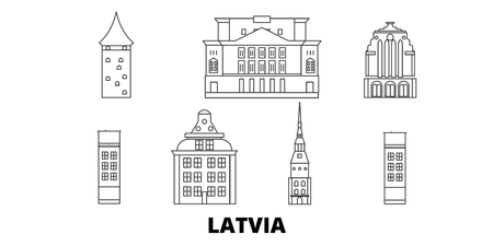 Latvia line travel skyline set. Latvia outline city vector panorama, illustration, travel sights, landmarks, streets. 일러스트
