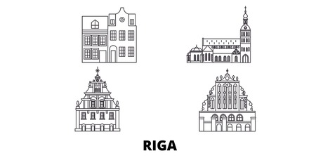 Latvia, Riga line travel skyline set. Latvia, Riga outline city vector panorama, illustration, travel sights, landmarks, streets.