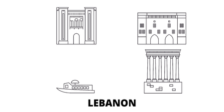 Lebanon line travel skyline set. Lebanon outline city vector panorama, illustration, travel sights, landmarks, streets.