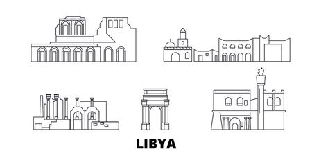Conjunto de horizonte de viaje de línea de Libia. Libia esquema panorama vectorial de la ciudad, ilustración, lugares turísticos, monumentos, calles.