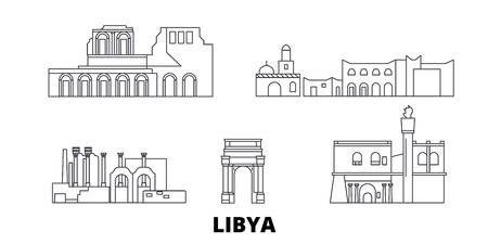 Insieme dell'orizzonte di viaggio della linea della Libia. Libia contorno città vettore panorama, illustrazione, siti di viaggi, punti di riferimento, strade.