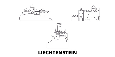 Liechtenstein line travel skyline set. Liechtenstein outline  vector panorama, illustration, travel sights, landmarks, streets.