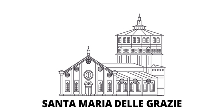 Italy, Santa Maria Delle Grazie line travel skyline set. Italy, Santa Maria Delle Grazie outline city vector panorama, illustration, travel sights, landmarks, streets.