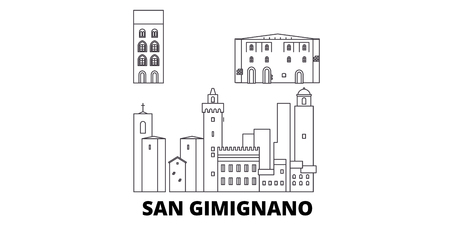 Italy, San Gimignano City line travel skyline set. Italy, San Gimignano City outline city vector panorama, illustration, travel sights, landmarks, streets.