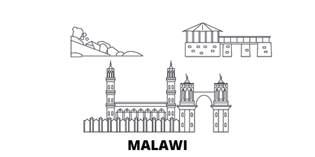 Malawi line travel skyline set. Malawi outline city vector panorama, illustration, travel sights, landmarks, streets.