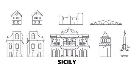 Italy, Sicily line travel skyline set. Italy, Sicily outline city vector panorama, illustration, travel sights, landmarks, streets. Ilustração