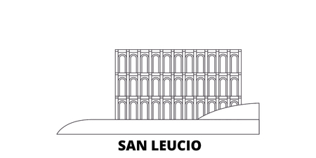 Italy, San Leucio line travel skyline set. Italy, San Leucio outline city vector panorama, illustration, travel sights, landmarks, streets. Standard-Bild - 120628523