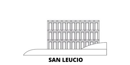 L'Italie, San Leucio line travel skyline set. L'Italie, San Leucio contours panorama vectoriel de la ville, illustration, sites touristiques, monuments, rues.