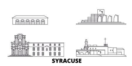 Italy, Syracuse line travel skyline set. Italy, Syracuse outline city vector panorama, illustration, travel sights, landmarks, streets. 矢量图像
