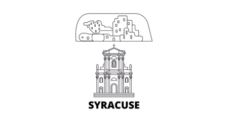 Italy, Syracuse City line travel skyline set. Italy, Syracuse City outline city vector panorama, illustration, travel sights, landmarks, streets.