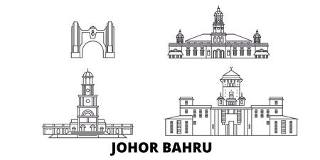 Malaysia, Johor Bahru line travel skyline set. Malaysia, Johor Bahru outline city vector panorama, illustration, travel sights, landmarks, streets.