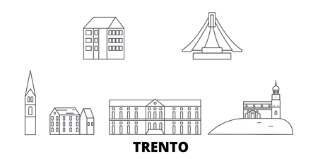 Italy, Trento line travel skyline set. Italy, Trento outline city vector panorama, illustration, travel sights, landmarks, streets.