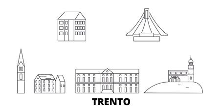 Italy, Trento line travel skyline set. Italy, Trento outline city vector panorama, illustration, travel sights, landmarks, streets.