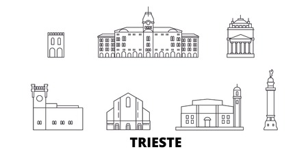 Italy, Trieste line travel skyline set. Italy, Trieste outline city vector panorama, illustration, travel sights, landmarks, streets. 写真素材 - 120650285
