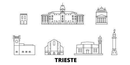 Italy, Trieste line travel skyline set. Italy, Trieste outline city vector panorama, illustration, travel sights, landmarks, streets. Illustration