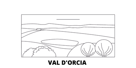 Italy, Val Dorcia  line travel skyline set. Italy, Val Dorcia  outline city vector panorama, illustration, travel sights, landmarks, streets. Çizim