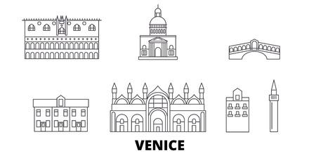 Italia, Venecia, la línea del horizonte de viaje. Italia, Venecia, panorama de vector de ciudad de contorno, ilustración, lugares turísticos, monumentos, calles.