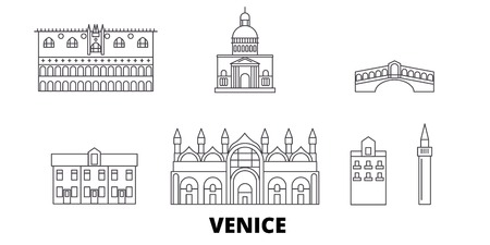 Italy, Venice line travel skyline set. Italy, Venice outline city vector panorama, illustration, travel sights, landmarks, streets.