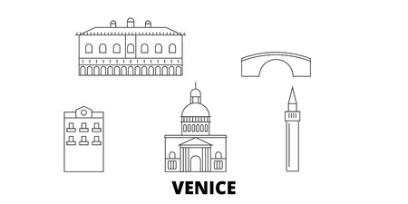 Italy, Venice City line travel skyline set. Italy, Venice City outline city vector panorama, illustration, travel sights, landmarks, streets. Imagens - 123962784