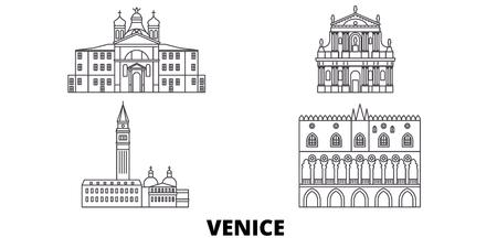 Italien, Venedig Wahrzeichen Linie Reise-Skyline-Set. Italien, Venedig Wahrzeichen skizzieren Stadtvektorpanorama, Illustration, Reisesehenswürdigkeiten, Sehenswürdigkeiten, Straßen.
