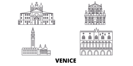 Italy, Venice Landmark line travel skyline set. Italy, Venice Landmark outline city vector panorama, illustration, travel sights, landmarks, streets. Фото со стока - 120650287