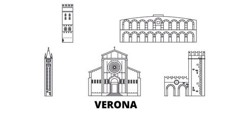 Italy, Verona line travel skyline set. Italy, Verona outline city vector panorama, illustration, travel sights, landmarks, streets.