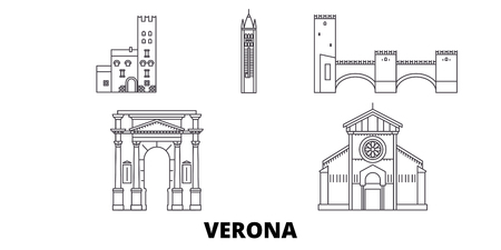 Italy, Verona City line travel skyline set. Italy, Verona City outline city vector panorama, illustration, travel sights, landmarks, streets. Иллюстрация