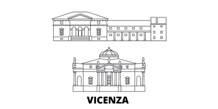 Italy, Vicenza line travel skyline set. Italy, Vicenza outline city vector panorama, illustration, travel sights, landmarks, streets. Illusztráció