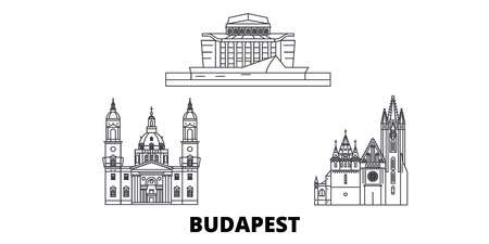 Hungary, Budapest City line travel skyline set. Hungary, Budapest City outline city vector panorama, illustration, travel sights, landmarks, streets.