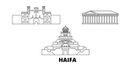 Israel, Haifa line travel skyline set. Israel, Haifa outline city vector panorama, illustration, travel sights, landmarks, streets. Imagens - 123962785