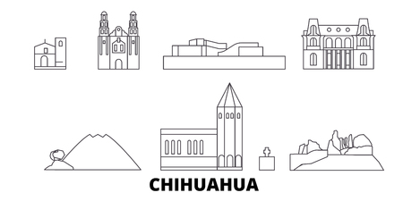 Mexico, Chihuahua line travel skyline set. Mexico, Chihuahua outline city vector panorama, illustration, travel sights, landmarks, streets.