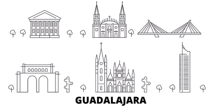 Mexico, Guadalajara line travel skyline set. Mexico, Guadalajara outline city vector panorama, illustration, travel sights, landmarks, streets. Ilustração