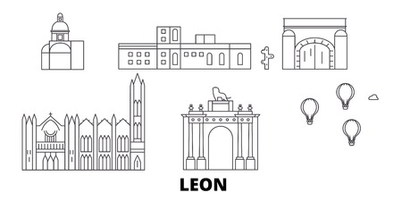 Mexico, Leon line travel skyline set. Mexico, Leon outline city vector panorama, illustration, travel sights, landmarks, streets.
