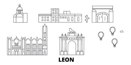 Mexico, Leon line travel skyline set. Mexico, Leon outline city vector panorama, illustration, travel sights, landmarks, streets.