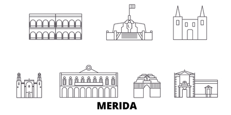 Mexico, Merida line travel skyline set. Mexico, Merida outline city vector panorama, illustration, travel sights, landmarks, streets. Иллюстрация