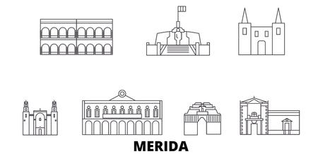 Mexiko, Merida Linie Reisen Skyline Set. Mexiko, Merida skizzieren Stadtvektorpanorama, Illustration, Reiseanblicke, Sehenswürdigkeiten, Straßen.