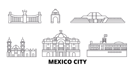 Mexico, Mexico line travel skyline set. Mexico, Mexico outline city vector panorama, illustration, travel sights, landmarks, streets.