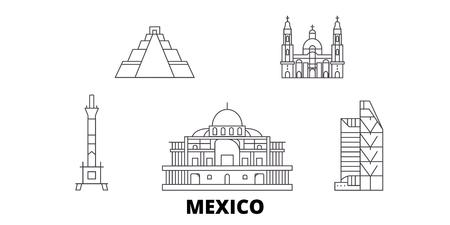 México, Ciudad de México, la línea del horizonte de viaje. México, Ciudad de México esquema panorama vectorial de la ciudad, ilustración, lugares turísticos, monumentos, calles.
