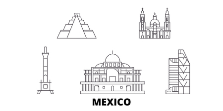 Mexico, Mexico City line travel skyline set. Mexico, Mexico City outline city vector panorama, illustration, travel sights, landmarks, streets.