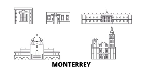 Mexico, Monterrey line travel skyline set. Mexico, Monterrey outline city vector panorama, illustration, travel sights, landmarks, streets.  イラスト・ベクター素材