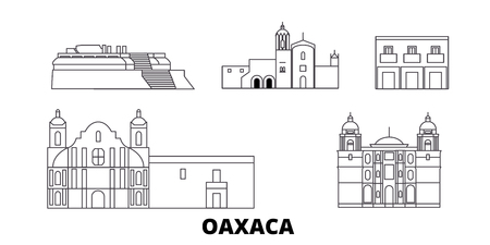 Mexico, Oaxaca line travel skyline set. Mexico, Oaxaca outline city vector panorama, illustration, travel sights, landmarks, streets.