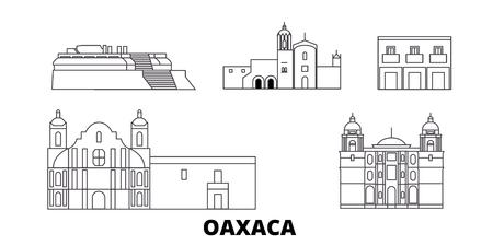 Mexico, Oaxaca line travel skyline set. Mexico, Oaxaca outline city vector panorama, illustration, travel sights, landmarks, streets. Banco de Imagens - 123962788