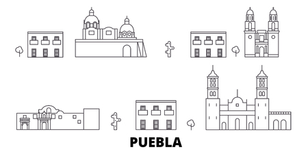 Mexico, Puebla line travel skyline set. Mexico, Puebla outline city vector panorama, illustration, travel sights, landmarks, streets.