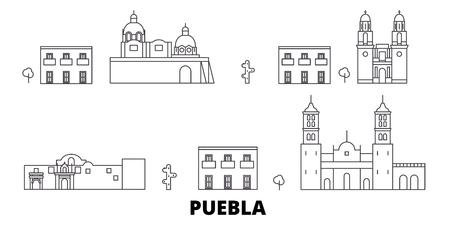 Mexiko, Puebla-Linie Reisen-Skyline-Set. Mexiko, Puebla skizzieren Stadtvektorpanorama, Illustration, Reiseanblicke, Sehenswürdigkeiten, Straßen.