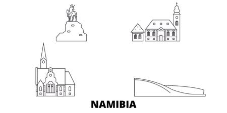Namibia line travel skyline set. Namibia outline city vector panorama, illustration, travel sights, landmarks, streets. Иллюстрация