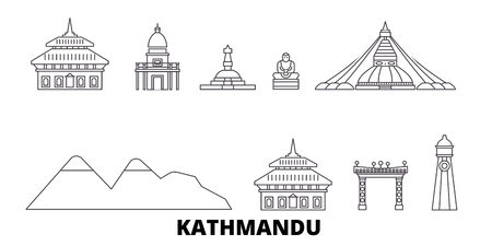 Nepal, Kathmandu line travel skyline set. Nepal, Kathmandu outline city vector panorama, illustration, travel sights, landmarks, streets.